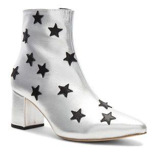 RAYE silver metallic appliqué star booties